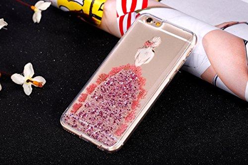 iPhone 6S Hülle,iPhone 6 Glitzer Hülle,JAWSEU Schön Prägung Echt Blumen Muster Bling Sparkle Shiny Kleid Mädchen Soft Gel Silikon Handycover Hüllen Dünn Transparent Crystal Klar Durchsichtig Weich Fle Pink Kleid