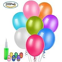 [100 Piezas] Globos de Fiesta de Colores Diversos, WolinTek Globos de Látex con Cintas para Decoraciones de Fiesta, Bodas, Fiestas de Cumpleaños