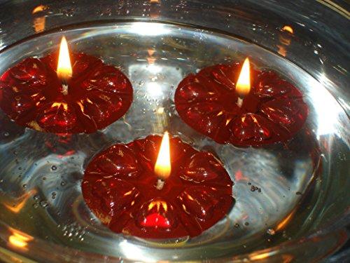 Mágico de Agua flotante de vVelas flotantes, 40 unidades, reutilizables, color rojo flotadores y, 100 mechas, de la piel y larga duración., para Ccentros de mesa para, boda