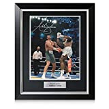Exclusive Memorabilia Anthony Joshua Signed Photo: The Klitschko Uppercut In Deluxe Black Frame Silver Inlay