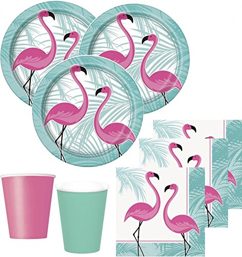 48 Teile Pink Flamingo Sommer Party Deko Set 16 Personen
