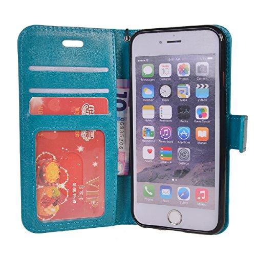iPhone 7 Plus (5.5 inches) Coque,COOLKE Flip Pliable Cover Case Portefeuille Wallet Etui Cuir Cas Shell avec Pratique Fonction Support Fermeture Magnétique Card Holder pour Apple iPhone 7 Plus (5.5 in Bleu