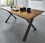SAM Esszimmertisch 140 x 90 cm Phoenix, Akazienholz, nussbaumfarben, Schwarze X-Beine aus Metall, echter Baumkantentisch, Unikat