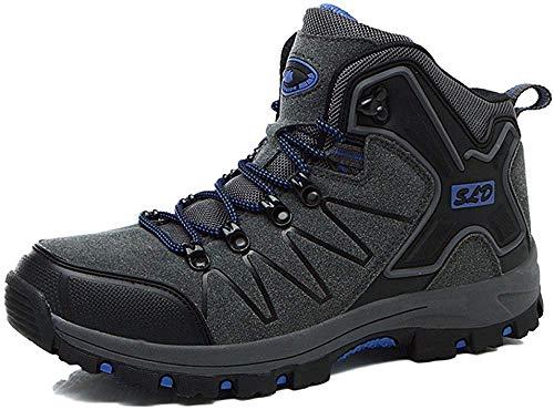 ZSJZHP Men Escursionismo, Uomini High-Top Scarpe da Trekking Lacci Antiurto per Esterni Sport Arrampicata Scarpe da Uomo in Pelle Anti-Skid,Grey-40 EU