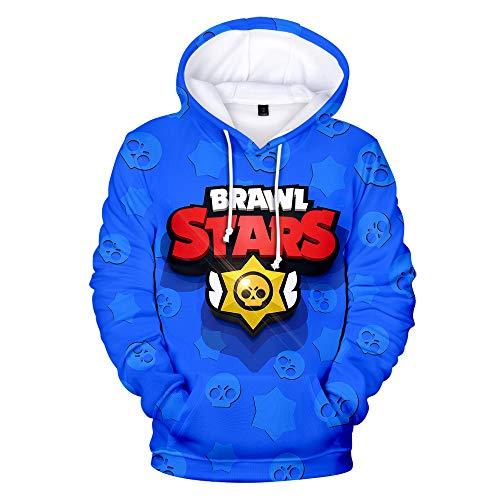 MR.YATCLS Brawl Stars Langärmliges Hoodie-Sweatshirt Mit 3D-Digitaldruck - Lockerer Pullover In Freizeitmode - Für Männer Und Frauen Geeignet Ein Star Sweatshirt