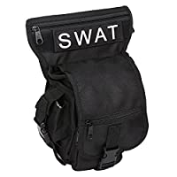 Eshow Men's Leg Bag Thigh Pack Canvas Waist Pack Cell Phone Holder Hunting Cycling Motorcycle Hiking CS Outdoor Sport Mountaineering Camping Black 01