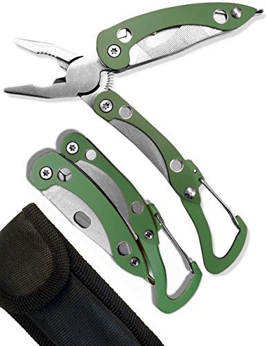 Outdoor saxx® – Mousqueton 6 en 1 Outil vélo Multi outil pour porte-clés – Pince, couteau, tournevis, décapsuleur, mousqueton | Vert
