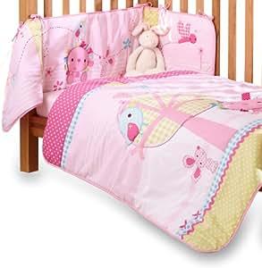 Clair de Lune Lottie & Squeek Cot/ Cot Bed Quilt and Bumper Bedding Set (Pink)