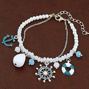 Ancre Marine Gouvernail en mode sauvage marin Bracelet de perles