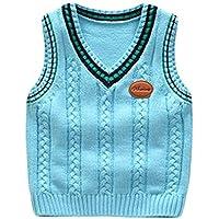 Kunfang Niños Suéter - Unisex Niños Clásico Retro Británico Estilo Chaleco Sudadera Cuello En V Comodo Ligero Sport Outdoor Suéter 9 Colores
