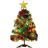 Comtervi 50 cm Weihnachtsbaum mit LED Leuchten Tisch Dekoration Xmas Party Ornament für Home Office Tabletop Shop Fenster DIY Decor
