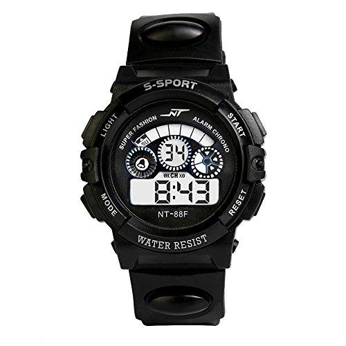 Uhr Herren Uhren Herrenuhr Sportuhr armbanduhr herren DAY.LIN Wasserdicht Herren Jungen Digital LED Quarz Alarm Datum Sport-Armbanduhr (Schwarz)
