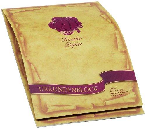 Rössler Papier 2002390000 - Urkundenblock A4, Dürener Tradition, 20 Blatt, beidseitig bedruckt