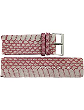 Armbanduhr lederarmband in Rosa Kalb Leder - 26 - Schlangenledermuster - Schnalle in Silber Edelstahl - B26007