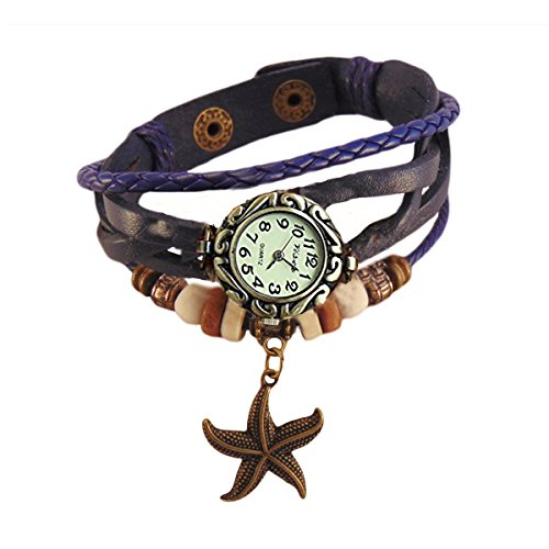 Habors Blue Multiband Watch Bracelet With Star Charms for Women