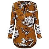 SEWORLD Sport Damen Mode Freizeit Oberteile Bluse Sommer Herbst Einzigartig Frauen Winter Casual Chiffon Bluse Split V-Ausschnitt mit Bündchen Ärmel Drucken Blusen Shirts Tops(B-Gelb,EU-36/CN-M)