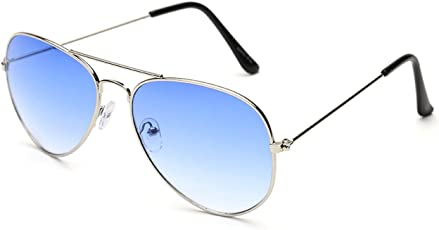Gansta UV Protected Silver Blue Aviator Sunglasses for Men Women (Gn-3002-Sil-Blu|Blue)