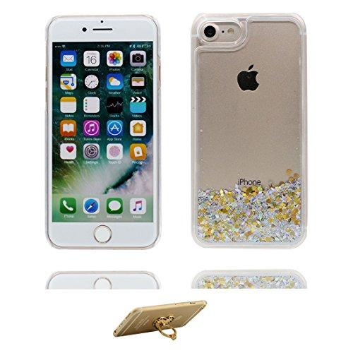 Hülle iPhone 7, [ Liquid Fließendes Glitzer Bling Bling ] iPhone 7 Handyhülle Cover (4.7 zoll), Floating sparkles, iPhone 7 Case Shell Anti-Beulen und Ring Ständer blau # 7