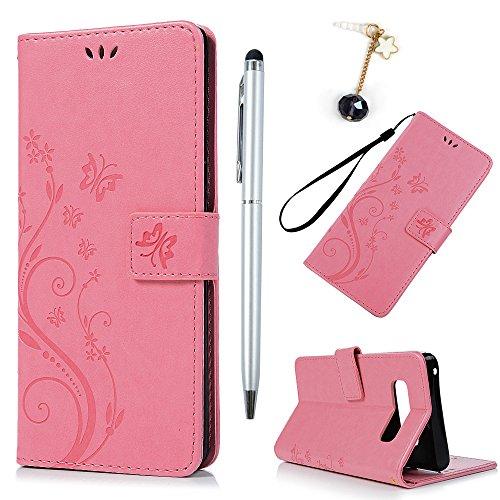 BADALink Hülle für Samsung Galaxy Note 8 Rosa Schmetterling Handyhülle Leder PU Case Cover Magnet Flip Case Schutzhülle und Ständer Handytasche mit Eingabestifte und Staubschutz Stecker