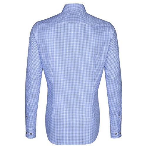 SEIDENSTICKER Herren Hemd X-Slim 1/1-Arm Bügelfrei Karo City-Hemd Button-Down-Kragen Kombimanschette weitenverstellbar blau (0013)
