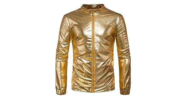 ECHOINE Mens Metallic Front Zip Bomber Jacket