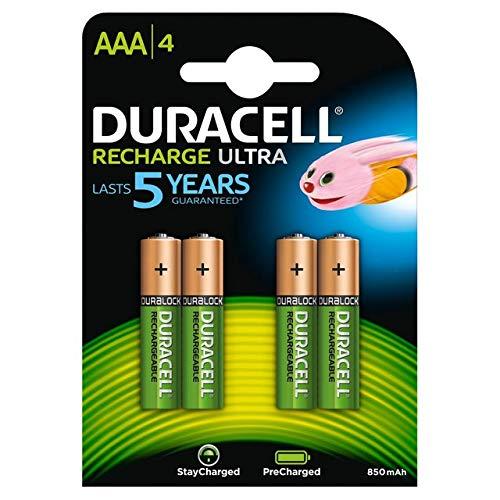 Duracell Ultra Set de 4 Piles Rechargeable Type AAA 900mAh