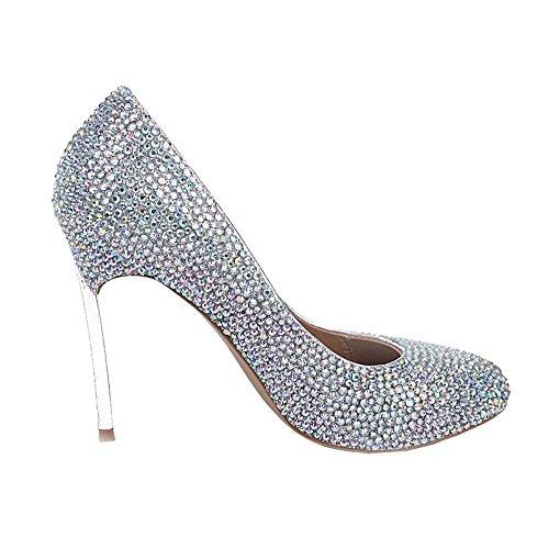 scarpe di cristallo delle donne sottili tacchi alti diamante d'argento fatti a mano in pelle nightclub sera di nozze pompe sposa damigelle d'onore sandali . silver . 38