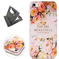 Keyye Iphone 5/5S/SE Silicone Gel TPU Case Soft Ultra Thin Shockproof Flexible Elegant Fashion Unique pattern Printed Design (with Free Practical Plastic Stand) Bumper Clear Cover Non-slip Shell Perfectly fit for Iphone 5/5S/SE(Rose flower)