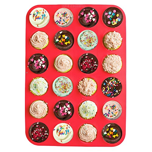 Cookies F-cup (24Tassen Silikon Muffin Pfanne, junhope Premium Mini Cupcakes Backen Pfanne, Antihaft-/Spülmaschinenfest, BPA-frei Lebensmittelechtes Silikon Form Material, Rot)