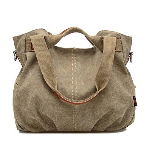 Honeymall Borsa tote da donna a mano di tela da viaggio casual Signore Borsetta Messenger Bag(blu) Cachi