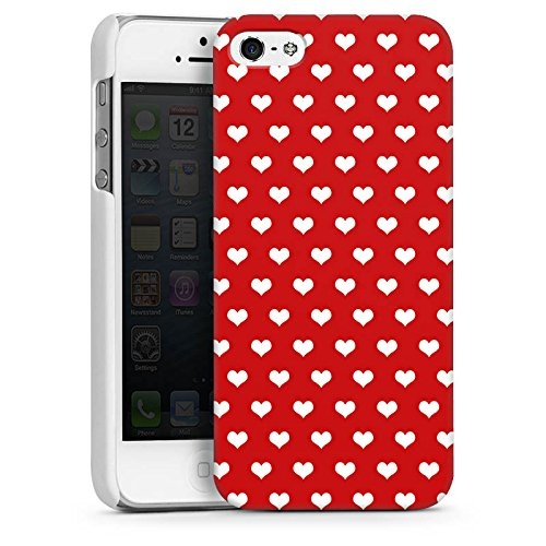 Apple iPhone 5s Housse Étui Protection Coque Petit c½ur Polka c½urs Rouge CasDur blanc