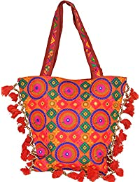 Exotic India Persimmon-Orange Shopper Bag With Embroidered Chakras And - Orange