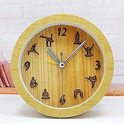 Color de madera natural 3D estereoscópico escritorio Yoga pequeño despertador Reloj de mesa