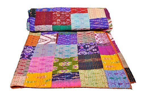 AndExports - Queen Size Multicolored Sari Patchwork Reversible Kantha Quilt, Indian silk sari patola quilt, Recycled Craft, Vintage Kantha Bedspread, Indian Handmade Gudri Bedspread, Unique Piece of Handmade Art by AndExports Blue Silk Sari