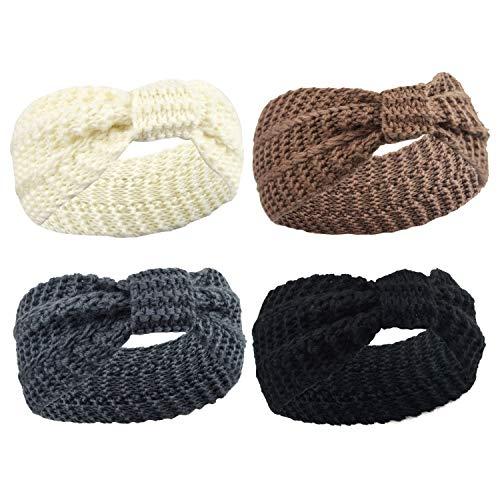 DRESHOW Damen Schleife Design Stirnband Winter Kopfband Haarband Stirnband Häkelarbeit