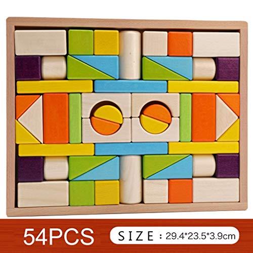 LLJXC Bunte Holzbausteine   Set, Kinder Aufbau-Holz-Spielzeug for Kinder 3-6 Jahre Alten Jungen oder Mädchen - Bildungs-Spielzeug (Größe : C)