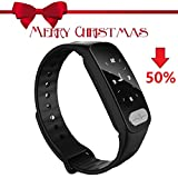 Fitness Tracker,Heart Rate Monitor Tracker Smart Bracelet Activity Tracker Bluetooth Pedometer with Sleep Monitor Smartwatch for iPhone 7 7 Plus 6 Samsung S8 Other Android or iOS Smartphones (Black)