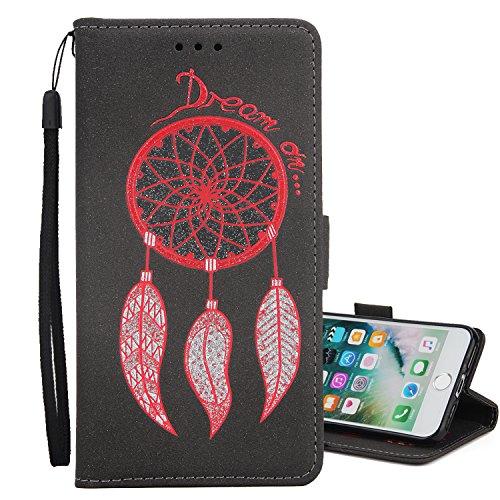 """iPhone 6s Hülle,iphone 6 4.7 Case, MOONESS Schutzhülle PU Leder Flip Tasche Case mit Standfunktion und Karte Halter für iPhone 6s/iphone 6 4.7""""(Rot) Schwarz1"""
