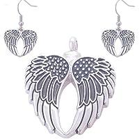 WYXIN Conjunto de colgante de botella de perfume retro Angel Wings Parientes Memorial colgante lindo , black