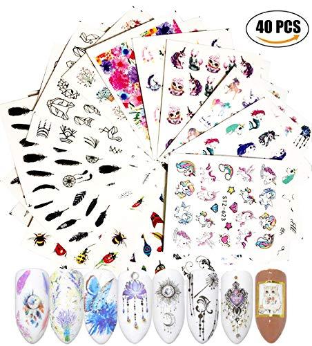 AIUIN 40 Stück Einhorn Nail Art Sticker Aufkleber Einhorn Blütenblatt Tinte Schmetterling Kat Nail...