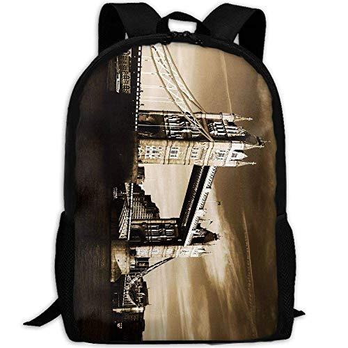 shuangshao liu Vintage Cloudy London Bridge Unisex Adult Custom Rucksack,School Leisure Sports Book Bags,Durable Oxford Outdoor College Laptop Computer Shoulder Bags,Lightweight Travel Tagesrucksäcke