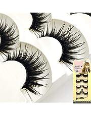 SBE New 5Pairs Long Black False Eyelashes Makeup Faux Non Magnet Extension Eyelashes