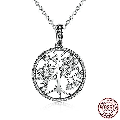 BYEONE Baum des Lebens Klassische 925 Sterling Silber Runde Anhänger Halsketten Für Frauen Edlen Schmuck