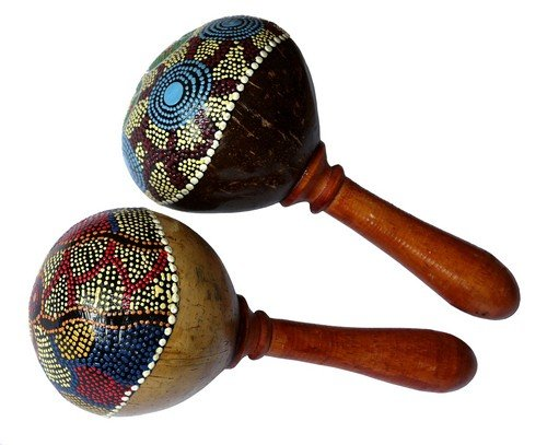 NEU Maraca Klapper Rassel Kokos Musikinstrument Maraka Mus102