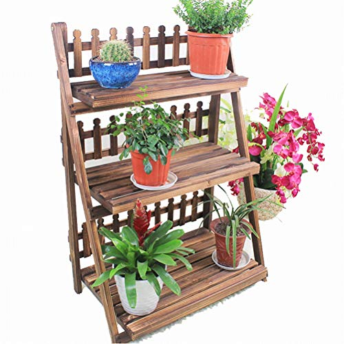 Bois massif pliant en bois cadre de fleurs en bois carbonisé salon balcon trois étages étage fleur pot fleur étagère offre spéciale (taille : 60 cm)