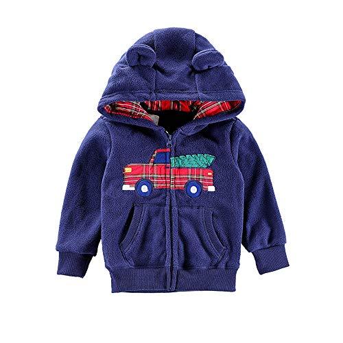 Selou Jungen Mädchen Cartoon Ohr Hoodie Netter Reißverschluss Plüschmull Pullover Kinder =Die schöne Spitze des Kindes Warme Kleidung Lässiger einfacher Mantel