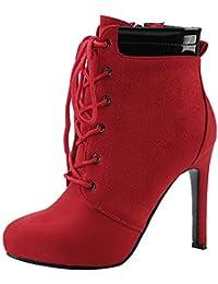AgooLar Damen Stiletto Knöchel Hohe Reißverschluss Stiefel, Rot, 39