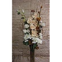 Ramo de flores secas y artificiales, 85cm de largo, listo para colocar en florero
