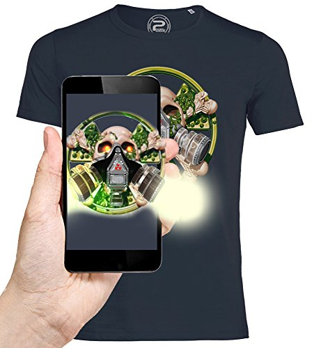 3D animierte T-shirt SCHÄDEL KERN SKULL Augmented Reality - PIXEL EVOLUTION - Mann Marineblau