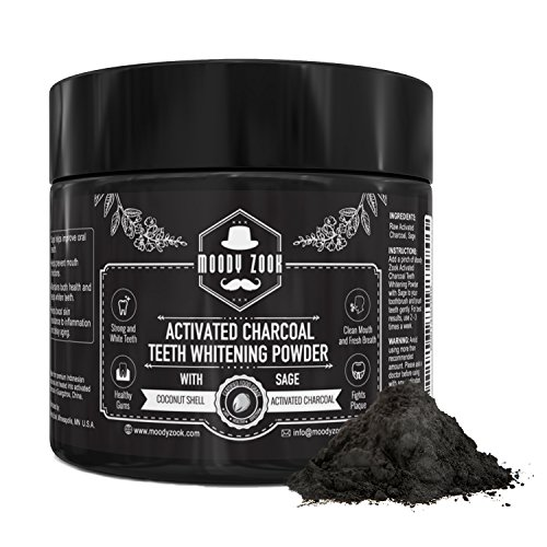 Weisse Zähne - Mit Aktivkohle Zähne Aufhellen - Natürliches Zahnaufhellungs Zahnpasta Pulver - Zahnweisser (Activated Charcoal Powder Teeth Whitening) Mit Bio Salbei von Moody Zook